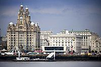 the liver building and cunard building on the river mersey and liverpool pier head skyline.