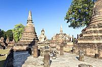 The ruins of Wat Mahathat, Sukhothai historical park, Sukhothai,Thailand.