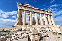 Parthenon temple dedicated to the goddess Athena,, part of Acropolis of Athens city, Greece.