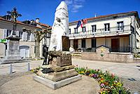"""Square of the Town Hall """"""""Mairie"""""""" of Montrejeau, Midi-Pyrenees, France."""