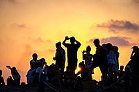 Sunset, El Pirata Bus, Playa de Migjorn, Formentera, Balearic Islands, Spain.