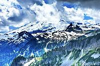 Mount Baker Snow Mountain Glaciers Through Clouds Artist Point Mount Baker. Washington, Pacific Northwest.