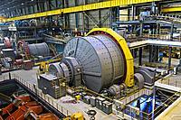 Ball mill for grinding larger rocks of copper ore, Erdenet Mining Corporation EMC, Erdenet Copper Mine, Erdenet, Mongolia.