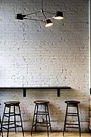 New York City, Manhattan. Coffee Bar Seating Area Waiting for Coffee Drinkers.