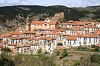 Linares de Mora, castle and town. Gudar-Javalambre, Teruel province, Aragon, Spain.