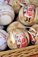 Christmas balls for decoration. Santa Llucia Christmas fair, Barcelona. Catalonia, Spain