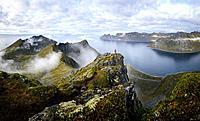 Norway, Troms County, north of the Arctic Circle, Senja island between Tromso and the Lofoten islands, trekker at the summit of Husfjellet (635m), vie...