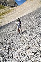 Montañera cerca del Collado del Ibón. Macizo de Cotiella. Valle de Gistaín. Pyrenees Mountains. Huesca Province. Aragón. Spain.
