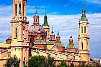 Catedral-Basílica de Nuestra Señora del Pilar de Zaragoza, Cathedral-Basilica of Our Lady of the Pillar, view from Puente de Piedra bridge over Ebro r...