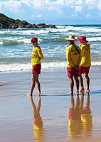 Lifeguards on Park beach, Coffs Harbour, NSW, Australia.