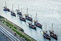 So called Rabelo boats on Douro River in Vila Nove de Gaia city, Portugal.