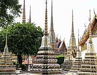 Structures inside the grounds of the Temple of the Emerald Buddha (Wat Phra Kaew), Bangkok, Thailand, Asia.