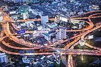 Junction, Sirat Expy expressway at Chalerm Maha Nakhon Expy expressway, Bangkok, Thailand.