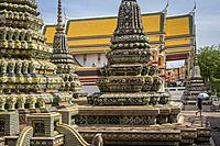 Chedi (stupas), in Wat Pho (Wat Po), Temple of the Reclining Buddha, Bangkok, Thailand.