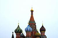 Saint Basil's Cathedral on Moscow Red Square background.