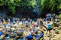 A lot of people in a canyon. Levada das 25 Fontes route. Madeira, Portugal, Europe.