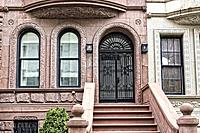 New York City, Manhattan, Upper West Side. Close up of the Entry Level of a Brownstone Townhouse.