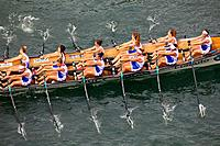 Trainera, Trawler regatta, Urumea river, Donostia, San Sebastian, Gipuzkoa, Basque Country, Spain, Europe