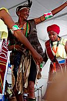 Folk festival held in Miajadas, farewell dancers from the Republic of Togo. Extemadura, Spain