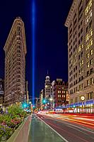 Flatiron NYC 911 Tribute In Light - View to the iconic New York City landmark of the Flatiron building. Also seen are the beam of lights shinning brig...