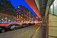 Cooper Union NYC - View of the new and modern building framing The Cooper Union College during the blue hour. In contrast to the original building, 41...