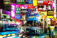 Neon signs and billboards, Hong Kong, China.