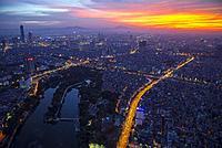 Aerial view of central Hanoi city, Vietnam.