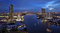 Chao Phraya River and city skyline, Bangkok, Thailand.