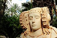 A copy of the Lady of Elche bust. Huerto del Cura, Elche, Alicante, Spain.