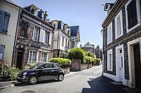Center of Etretat town, France.