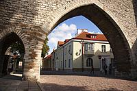 View to the Monastery Gate and ancient city walls in the old town, Tallinn, Estonia, Baltic States, Europe.