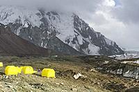 Khan Tengri Base Camp, Central Tian Shan Mountain range, Border of Kyrgyzstan and China, Kyrgyzstan.