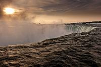 Sunrise at Niagara Falls, Ontario, Canada.