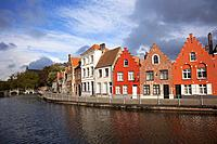 Traditional houses on the canal in the city center, Bruges, West Flanders, Belgium, Europe.