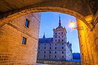 Royal Monastery, night view. San Lorenzo del Escorial, Madrid province, Spain.