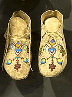 Beaded moccasins in Visitor Center, Knife River Indian Villages National Historic Site, Lewis and Clark National Historic Trail, North Dakota.