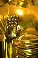 Golden Buddha statue detail in Fukuoka, Japan, Asia.
