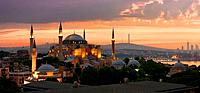 View on Ayasofya museum and cityscape of Istanbul at sunrise, Turkey.