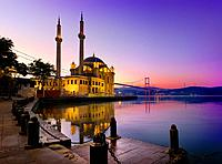 Ortakoy Mosque and Bosphorus bridge in Istanbul at sunrise, Turkey.