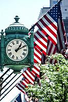 Old Marshall Field now Macys store clock at State and Randolph Chicago USA.