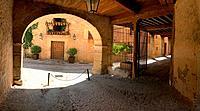 Arcade and street. Pedraza, Segovia province, Castilla Leon, Spain.