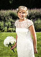 A bride, 65, at an outdoor wedding in West Vancouver, BC, Canada.