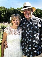 A bride, 65, and groom, 65, at their outdoor wedding in West Vancouver, BC, Canada.