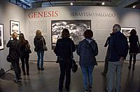 Visitors at exhibition of photographer Salgado at fotomuseum in Rotterdam, Holland