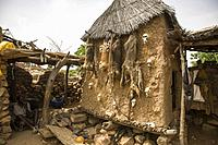 Mali. Dogon Country. Begnimato village. Barns erected with wood and adobe. Animal skulls and skins hang from their walls. This is a characteristic tra...
