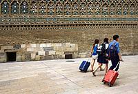 Tourists near Cathedral of the Savior - Catedral del Salvador or La Seo de Zaragoza, Roman Catholic Cathedral in Plaza de la Seo in Zaragoza, part of ...