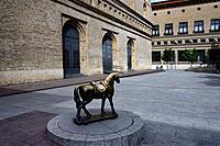 La Lonja former Exchange market, at present - exhibition hall, El caballito de la Lonja - sculpture of horse dedicated to photographer Angel Cordero G...