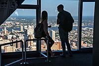 Tourists on top level of One Liberty Observation Deck, Philadelphia, Pennsylvania, USA.