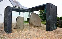The Jelling stones at Jelling church, birtplace of Christianity in Denmark, Jelling, Jutland, Denmark.