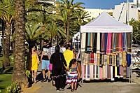 Flea market, Port d'Alcúdia, Mallorca, Balearic islands, Spain.